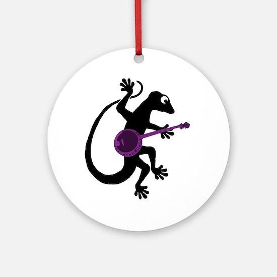 Gecko Banjo Ornament (Round)