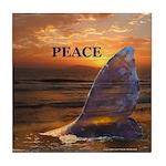 PEACE WHALE Tile Coaster