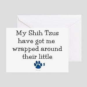 Wrapped Around Their Paws (Shih Tzu) Greeting Card