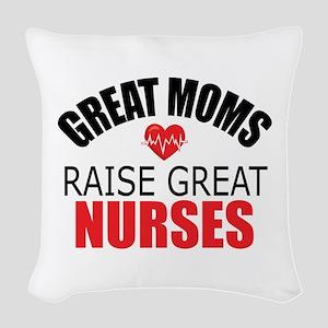 Moms Raise Nurses Woven Throw Pillow