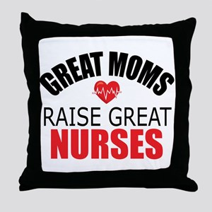 Moms Raise Nurses Throw Pillow