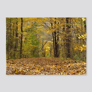 autumn forest trail 5'x7'Area Rug
