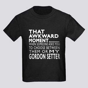 Awkward Gordon Setter Dog Design Kids Dark T-Shirt