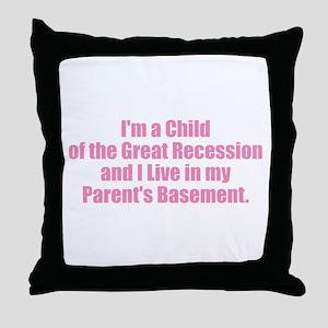 Parent's Basement - Pink Throw Pillow
