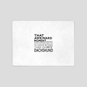 Awkward Dachshund Dog Designs 5'x7'Area Rug