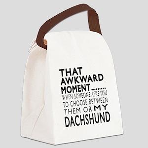 Awkward Dachshund Dog Designs Canvas Lunch Bag