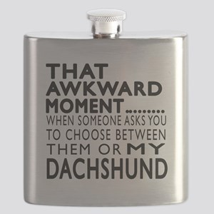 Awkward Dachshund Dog Designs Flask