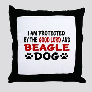 Protected By Beagle Throw Pillow