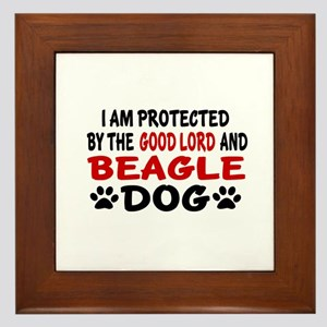 Protected By Beagle Framed Tile