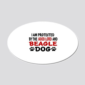 Protected By Beagle 20x12 Oval Wall Decal