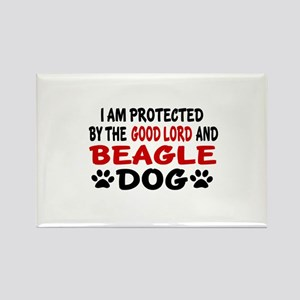 Protected By Beagle Rectangle Magnet