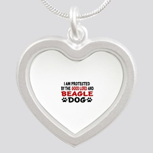 Protected By Beagle Silver Heart Necklace