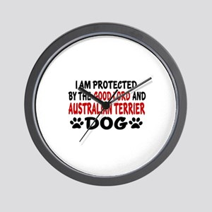 Protected By Australian Terrier Dog Wall Clock