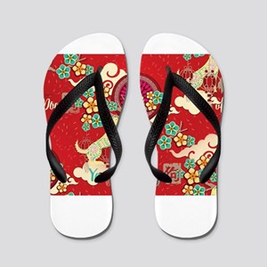 chinese new year dog Flip Flops