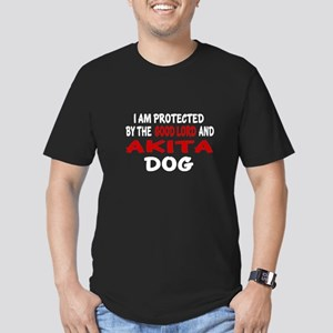 Protected By Akita Dog Men's Fitted T-Shirt (dark)