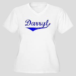 Darryl Vintage (Blue) Women's Plus Size V-Neck T-S