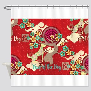 chinese new year dog Shower Curtain