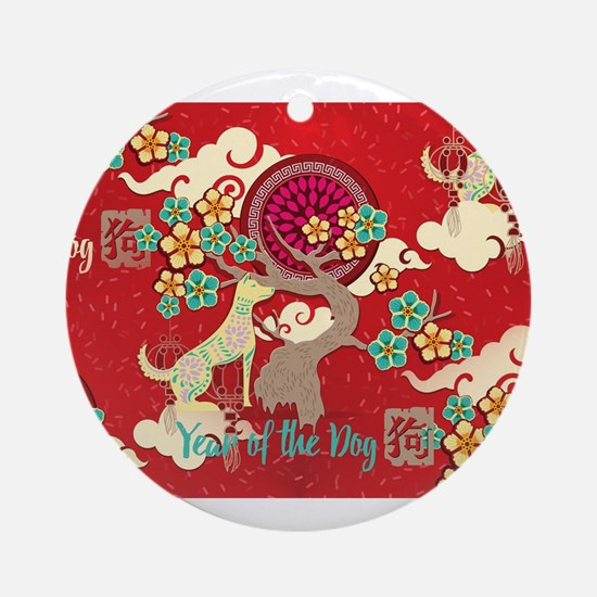 chinese new year dog Round Ornament
