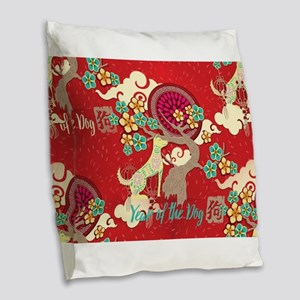 chinese new year dog Burlap Throw Pillow