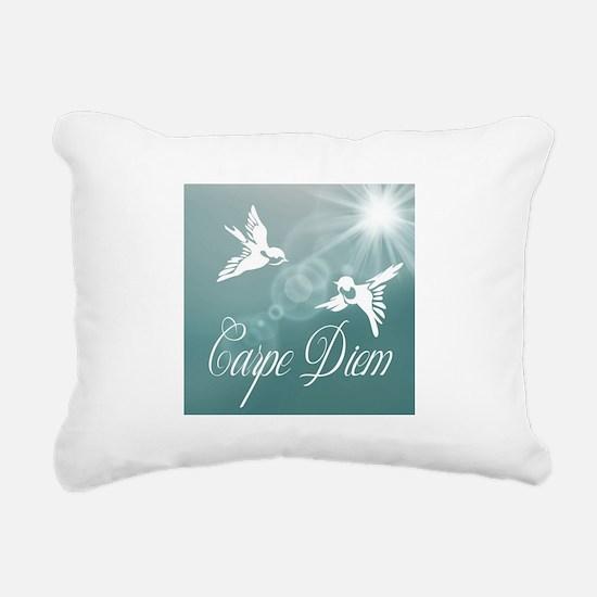 Carpe Diem (Blue) Rectangular Canvas Pillow
