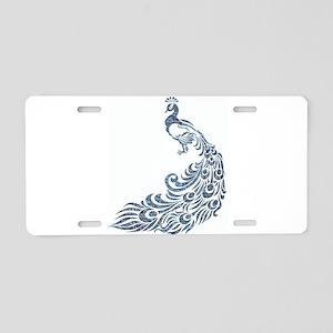 Blue Peacock Aluminum License Plate