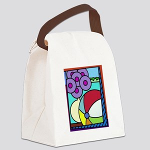 Flowers And Beach Ball Canvas Lunch Bag