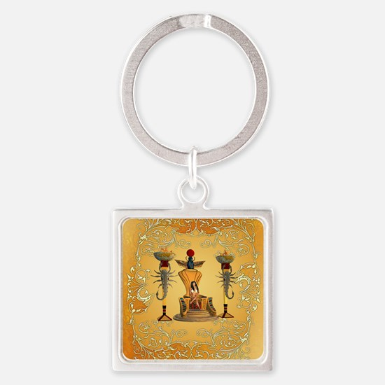 Egyptian women on a throne Keychains