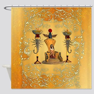 Egyptian women on a throne Shower Curtain
