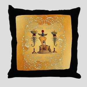 Egyptian women on a throne Throw Pillow