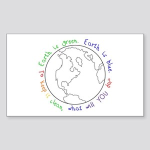 Earth is Green Rectangle Sticker