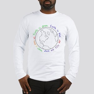 Colorable Earth is Green Long Sleeve T-Shirt