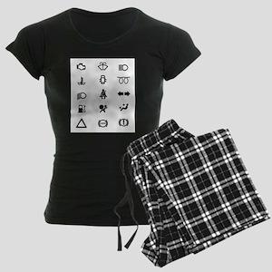 Vehicle Dash Warning Icons Women's Dark Pajamas