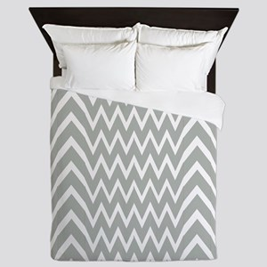 Gray Chevron Illusion Queen Duvet