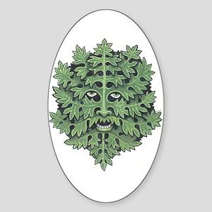 Green Man Oval Sticker