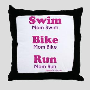 Triathlon Mom Throw Pillow