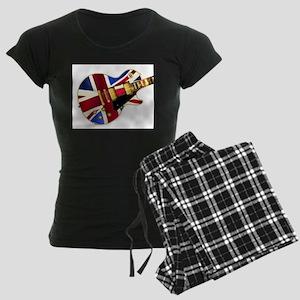 Union Jack Flag Guitar Women's Dark Pajamas