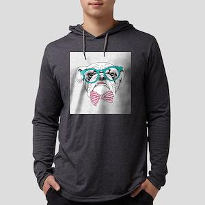 Hipster Bulldog Mens Hooded Shirt