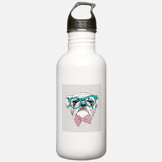 Hipster Bulldog Water Bottle