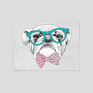 Hipster Bulldog 5'x7'Area Rug