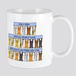 February 29th Birthday Cats Mugs