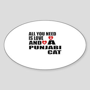 All You Need Is Love Punjabi Cat De Sticker (Oval)