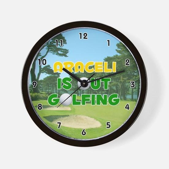 Araceli is Out Golfing (Gold) Golf Wall Clock