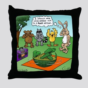 """Tortoise and the Hare Revisited"" Throw Pillow"