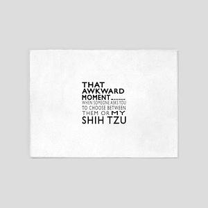 Awkward Shih Tzu Dog Designs 5'x7'Area Rug
