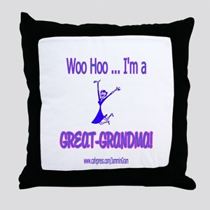 WOO HOO GREAT-GRANDMA Throw Pillow