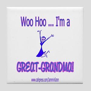WOO HOO GREAT-GRANDMA Tile Coaster