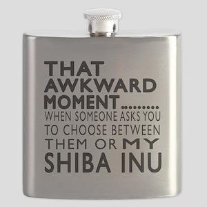 Awkward Shiba Inu Dog Designs Flask