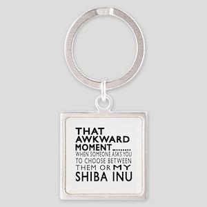 Awkward Shiba Inu Dog Designs Square Keychain