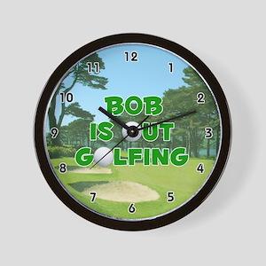 Bob is Out Golfing (Green) Golf Wall Clock