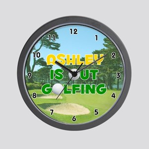Ashley is Out Golfing (Gold) Golf Wall Clock